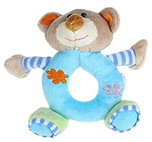 14*13cm Baby Girls Boy Infant Mini Hand Rattle Animal Soft Plush Doll Educational Toys Stuffed & Plush Animals (Bear Blue)