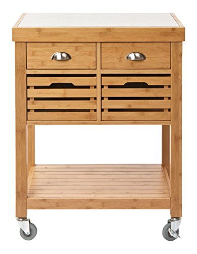 Boraam 50650 Kenta Bamboo Kitchen Cart with Stainless Steel Top (Bamboo Kitchen Carts And Islands compare prices)