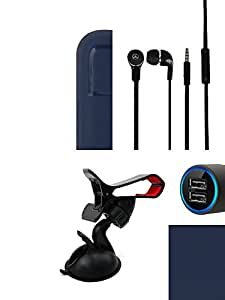 NIROSHA Cover Case Car Charger Headphone Mobile Holder Combo for Xiaomi Redmi 2s Combo