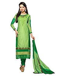 Monalisa Fabrics Women's Unstitched Dress Material (22221005_Green_Free Size)