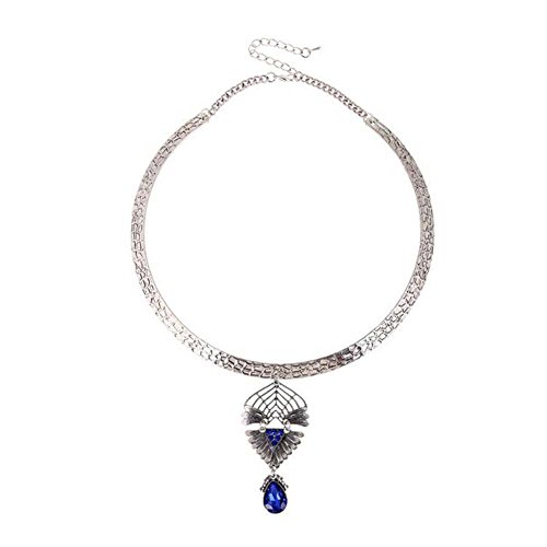Christmas GERGER BO Christmas Pierced Flower Petal Water Drop Glass Pendant Necklace(Blue) (Hawaiian Punch Water Enhancer compare prices)