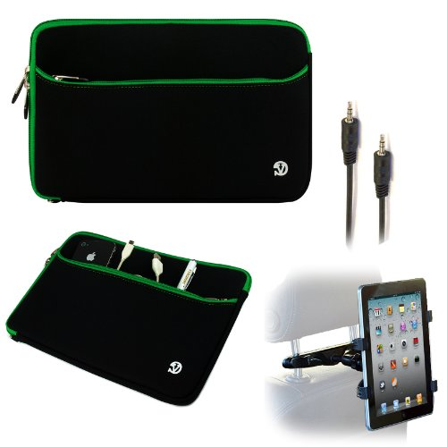 Barnes & Noble Nook Hd+ 9 ( Fits 16Gb, 32Gb Latest Model Capacitive Multi-Touch Screen Tablet ) Black With Green Trim Vangoddy Neoprene Sleeve Cover Protector - 10In Includes 6Ft Aux Cable + Headrest Mount front-117467