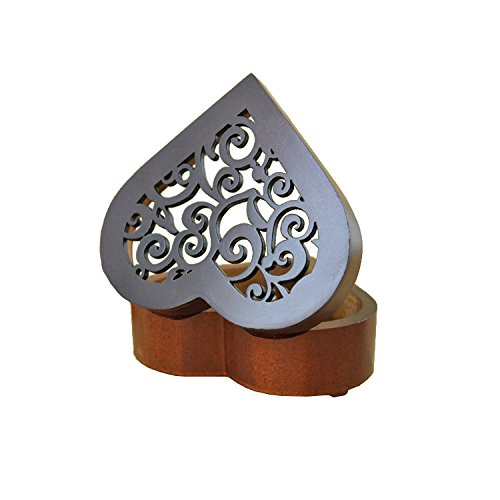 Heart Shape Vintage Wood Carved Mechanism Musical Box Wind Up Music Box Gift For Christmas/Birthday/Valentine's day, Melody Castle in the Sky 2