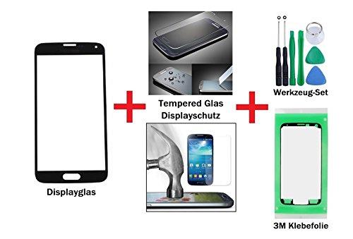 """iTech Germany Samsung Galaxy S5 Mini Vetro display kit di sostituzione in Nero + Vetro temprato di Gorilla Glass - Di alta qualità touchscreen arnesi per riparazioni per SM-G800F con """"3M"""" adesivo pretagliato e set di strumenti"""