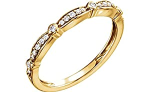 Diamond Stackable Anniversary Band, 14k Yellow Gold (1/8 Cttw, H+ Color, SI Clarity), Size 7