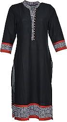 Artisan Women's Cotton Straight Kurta (CZF10020_M, Black, M)