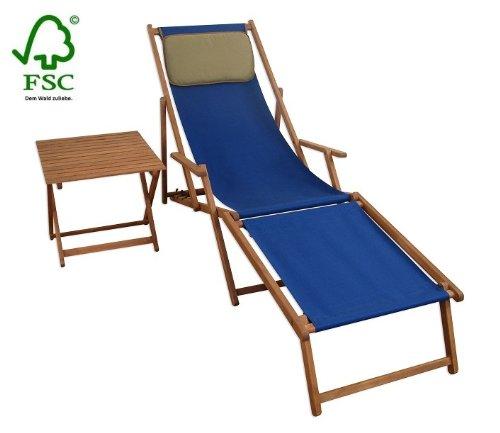 Sonnenliege Gartenliege Deckchair Saunaliege inkl. abnehmbarem Fußteil und Kopfstütze + Tisch kaufen