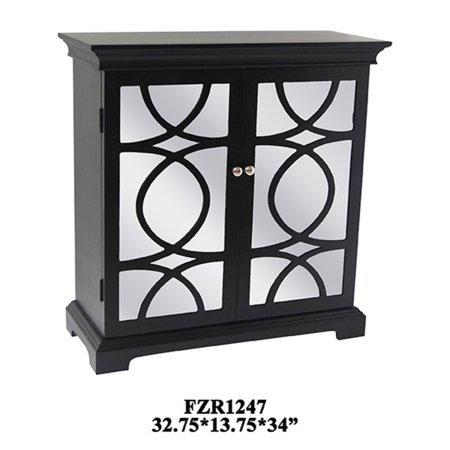 Crestview Tuxedo Black And White 2 Door Cabinet 32.75x13.75x34 CVFZR1247 Distressed White 2 Door Cabinet