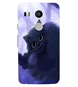 ColourCraft Cute Cat Design Back Case Cover for LG GOOGLE NEXUS 5X