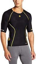 Skins A200 Top de compression manches courtes Homme Noir/Jaune FR : L (Taille Fabricant : L)