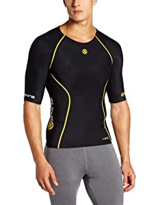 Skins A200 Short Sleeve Men's Compression Top - Black/Yellow, M