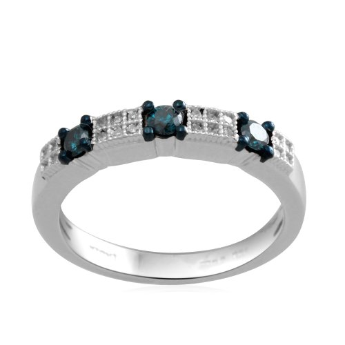 Sterling Silver Blue and White Diamond Anniversary Ring (1/4 Cttw, I-J Color, I3 Clarity), Size 7