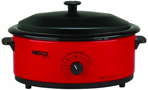 Nesco 4816-12 6-Quart Roaster Oven with Black Lid, Red (Small Oven Roaster compare prices)