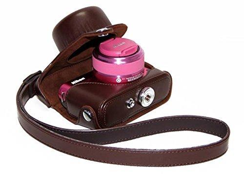 ceariレザーカメラケースバッグwithネックストラップfor Nikon 1j2j3with 10–30mmレンズ 711811896866