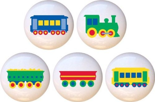 Trains Kids Locomotive Train Drawer Pulls Knobs Set of 5
