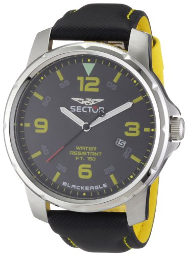 Sector Men's Watch R3251189025 In Collection Black Eagle, 46mm 3 H and S with Black Dial and Bicolor Strap