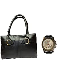 Arc HnH Women HandBag + Watch Combo - Buckle Black Handbag + Premium Silver Heart Watch