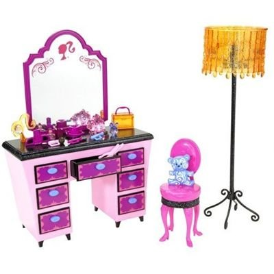 Barbie glam vanity play set pink 027084674811 for Accessoire maison barbie
