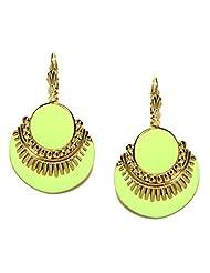 Blissdrizzle Fluorescent Green & Gold-Toned Drop Earrings