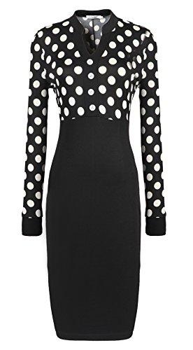 Merope J Polka Wrapped Bodycon Midi OL V Neck Patchwork Dress for Women (L, Black)