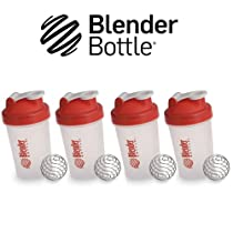 New Genuine Multi 4 Pack 20oz Small Mini Red Classic Blender Bottle Sundesa BlenderBottle Fitness Water Bottle Shaker Cup For Protein Shakes and other powder supplements with stainless steel wire whisk blenderball 20 Ounces to the brim Shaker Cup