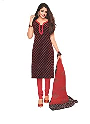 M.S. Boutique - Unstitched Cotton Dress Material - Maroon - (MS-SBT-202)