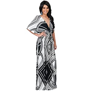 Koh Koh Women's Graphic Print Kimono Sleeve Cocktail Maxi Dress - XX-Large - Black & White