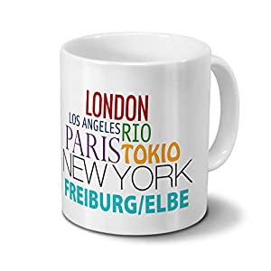 Städtetasse Freiburg/Elbe - Design Famous Cities of the World - Stadt-Tasse, Kaffeebecher, City-Mug, Becher, Kaffeetasse - Farbe Weiß