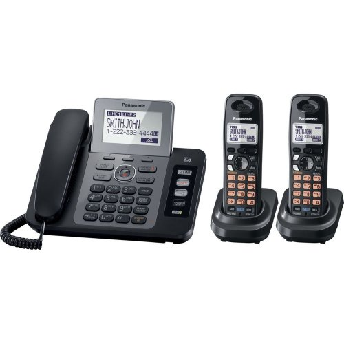 Panasonic KX-TG9472B DECT 6.0 2-Lines Phone with Digital Answering System and Contact Sync, Black, 2 Handsets