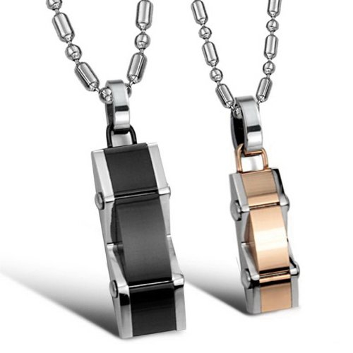 Opk Jewellery Necklaces Stainless Steel Neckwear Rose Gold Black Plated Pendants Necklets