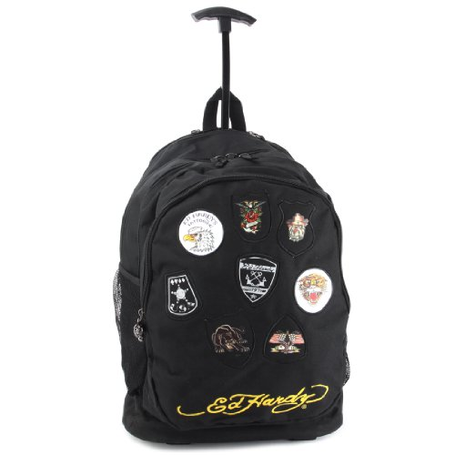 Ed Hardy Brad Patches Trolley Backpack - Black