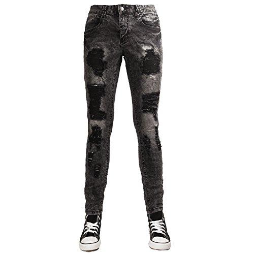 Toocool - Jeans uomo pantaloni ripped strappi strappati slim fit aderenti nuovi AD6860 [34/tg 48,nero]