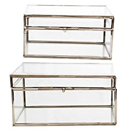 A&B Home 39889 7 x 5 x 3.5 in. S6 x 4 x 3 in. 2 Piece Rectangular Glass Boxes Set, Nickel