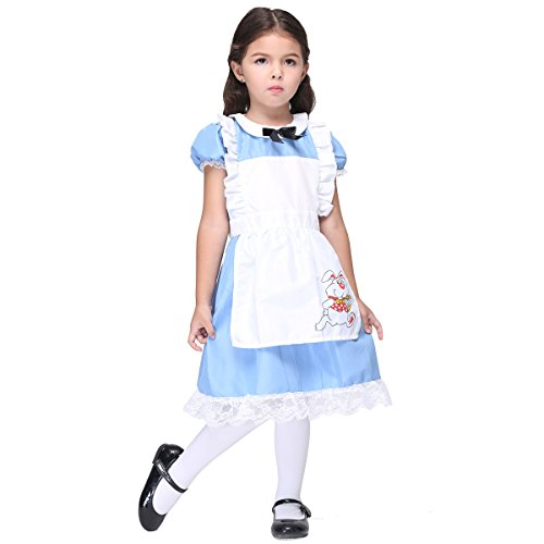 [Halloween Deluxe French Maid Costume for Little Girls (S Blue)] (Custom French Maid Costumes)