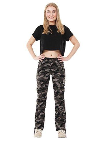 damen cargo hose im milit r stil camouflage dunkelgr n. Black Bedroom Furniture Sets. Home Design Ideas