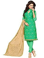 Anjali Presents Gorgeous Green Coloured Embroidered Dress Material