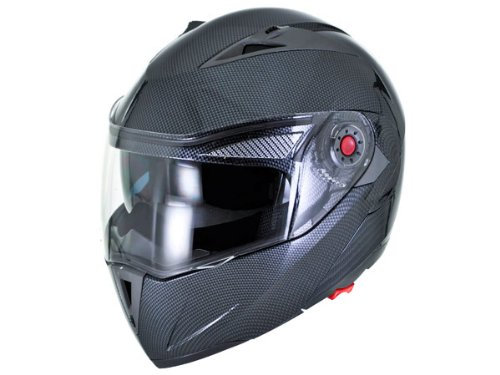 DOT Approved Motorcycle Helmet Modular Flip Up Carbon Fiber Dual Smoke Visor EVOS Sport Street Bike Cruiser Scooter Snowmobile ATV Helmet - Medium