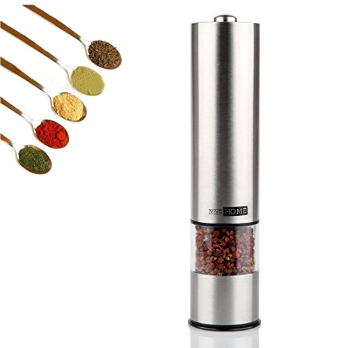 VIVOHOME Battery Powered Brushed Stainless Steel Electric Salt, Pepper, or Spice Mill and Grinder, Silver | Single Mill, Square Head