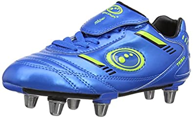 Optimum Boys RBTBGJ1 Tribal Rugby Boots - Blue/Neon Green, 1 UK, 34 EU