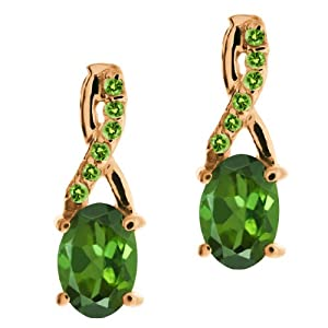 1.08 Ct Oval Green Tourmaline and Peridot Rose Gold Plated Silver Earrings