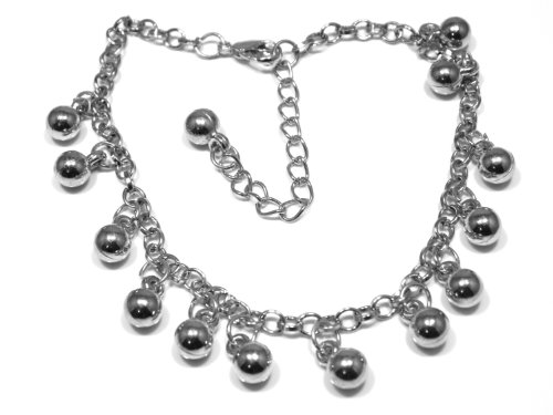 Silver Plated Ball Charm Anklet