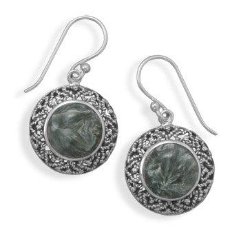 Oxidized Seraphinite Earrings