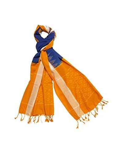 a & R Cashmere Women's Handmade Ikat Scarf, Tangerine/Royal Blue