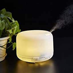 Aroma Diffuser Ultrasonic Humidifier -7 LED Color Changing Lamp Light Lonizer -3 Times Settings -500ml Aromatherapy Air Mist Purifier
