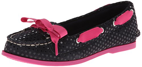 Sperry Top-Sider Audrey YG Boat Shoe (Little Kid/Big Kid),Navy Dots/Pink,4.5 M US Big Kid