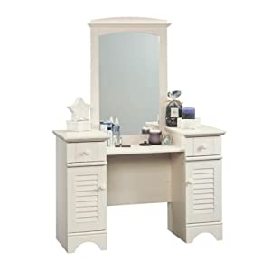 Girls Antique White Bedroom Vanity Dresser Makeup Hair Desk With Drawers Large