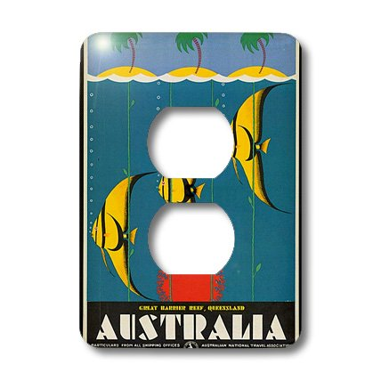 Lsp_173846_6 Florene - Vintage Travel Posters - Image Of Australian Travel Poster With Fish - Light Switch Covers - 2 Plug Outlet Cover
