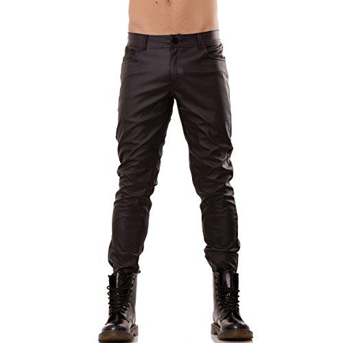 Toocool - Pantaloni uomo ecopelle neri slim moto elasticizzati zip nuovi PE3069[NERO,54]