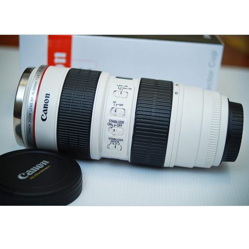 Camera Lens Mug/Lens Coffee Cup(Creative cup design is simulation to Canon 70-200mm F2.8 IS lens / Stainless Steel Mug Interior /2011 New Version)