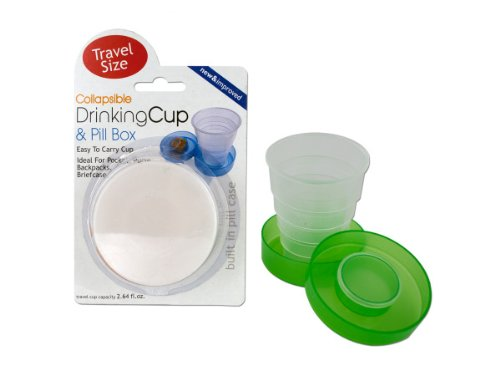 Collapsible Drinking Cup Pill Box Case of 24